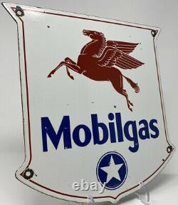 Vintage Mobilgas Porcelain Sign Gasoline Station Pump Plate Motor Oil Pegasus