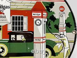 Vintage Mobilgas Porcelain Sign Steel Gas Oil Garage Pump Plate Service Station
