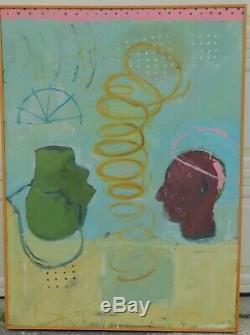 Vintage Modern Abstract Brutalist POP ART Oil Painting Ben Brandt COSMIC RAY