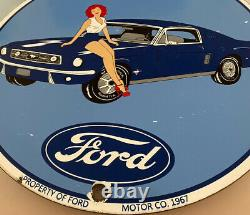 Vintage Mustang Fast Back Porcelain Pin Up Sign Gas Oil Dealership Ford Motors