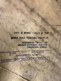 Vintage NOS Mohawk Tire Gas Oil Sign metal tin