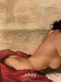 Vintage Nude Woman Oil Painting Mid Century Framed