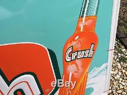Vintage ORIGINAL 1959 ORANGE CRUSH Soda Embossed Bottle Sign DEAD MINT GAS OIL