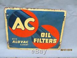 Vintage ORIGINAL AC Spark Plug Sign Oil Can Filter Sign Gas Station