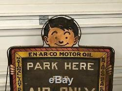 Vintage ORIGINAL EN-AR-CO Motor Oil WHITE ROSE Gasoline Sign & STAND OLD Gas