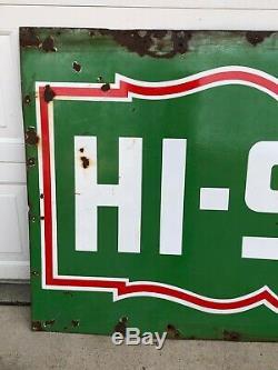 Vintage ORIGINAL Large HI-SPEED Gas Station PORCELAIN Sign Oil OLD HoT RaT RoD