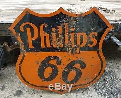 Vintage ORIGINAL Phillips 66 Porcelain Double Sided Sign Service Station Gas Oil