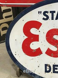 Vintage ORIGINAL STANDARD DEALER ESSO Sign PORCELAIN Gas Oil OLD DSP Station