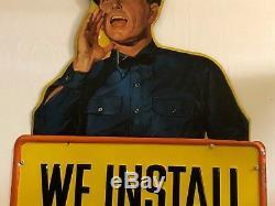 Vintage ORIGINAL WALKER MUFFLER Service Station Attendant Sign OLD Gas Oil RARE