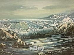 Vintage Oil On Board Painting Ocean Crashing Waves signed