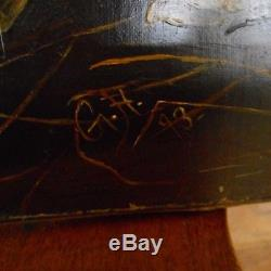 Vintage Oil On Canvas Painting-4 TERRIER PUPPIES DOGS-Signed G. H. C. 1893