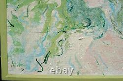 Vintage Oil Painting Matched Frame, Impressionist Signed Girl Portrait, Texture