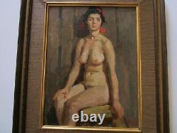 Vintage Oil Painting Portrait Vintage Pretty Woman Female Model Nude Russian