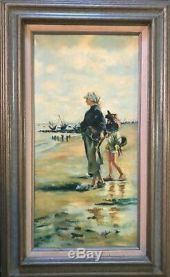 Vintage Oil Painting'beach' Created In 1950-1960 Original Frame Signed