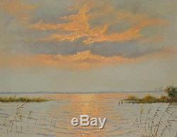 Vintage Oil on Canvas of a Netherlands Sunset Lake Scene Illegibly Signed