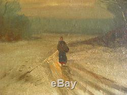 Vintage Old Oil Painting Canvas Austrian Artist Signed Framed Adolf Werner 1862