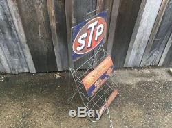 Vintage Original 1960s STP Motor Oil Can Display Gas Service Station Rack Sign
