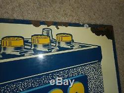 Vintage Original 2-Sided DELCO Battery Gas Station Oil Metal Advertising SIGN