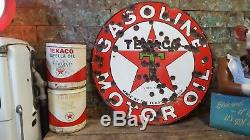 Vintage Original 2-Sided TEXACO Motor Oil Station Porcelain 30s Advertising SIGN