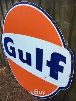 Vintage Original 6ft Porcelain Gulf Sign Large Gas Station Garage Oil