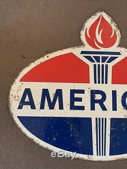 Vintage Original American Gasoline Sign Dealer Rare Country Store Oil Garage