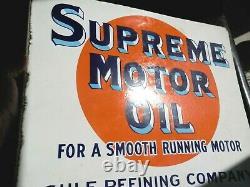 Vintage Original Early Porcelain Gulf Supreme Motor Oil Flange Signnot A Repro