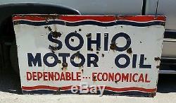 Vintage Original Extra Large 60x35 SOHIO Porcelain Motor Oil Sign Advertising