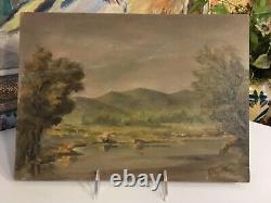 Vintage Original French Oil Painting Landscape on Board