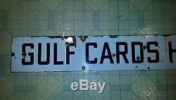 Vintage Original Gulf Cards Honored Porcelain gas station oil sign 2 sided long