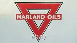 Vintage Original Marland Oil Company Porcelain Grease Sign Good Condition