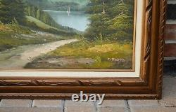 Vintage Original Oil Painting Mountain Landscape Signed D. Junepa Framed