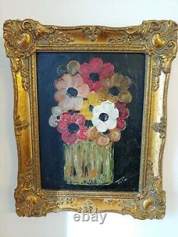 Vintage Original Oil Painting of Abstract Flowers, board, signed