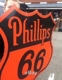 Vintage Original Old 29 inch Phillips 66 Porcelain Metal Sign 2sided Gas & Oil