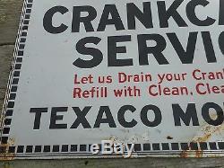 Vintage Original PORCELAIN TEXACO Motor Oil Crankcase Service Advertising SIGN