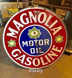 Vintage Original Porcelain Magnolia Motor Oil Gasoline Sign
