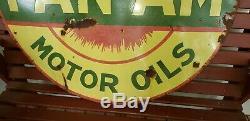Vintage Original Porcelain PAN AM Gasoline Motor Oil Sign 42