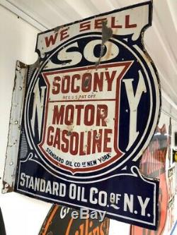 Vintage Original Socony Porcelain Flange Sign Gas Standard Oil Company