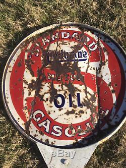 Vintage Original gas station pole with 30 Standard oil sign