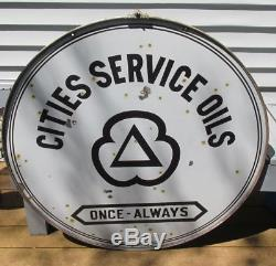 Vintage PORCELAIN CITIES SERVICE Station Sign GAS OIL Display 42 two sided