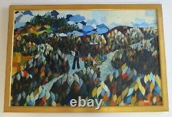 Vintage Painting Abstract Cubism Expressionism Large Mystery Artist 1970's Pop