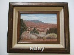 Vintage Painting American Landscape Mountains Desert Cliffs Signed Pfann