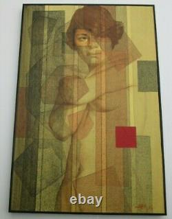 Vintage Painting Nude Woman Female Pretty Model Surreal Cubist Cubism Abstract