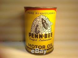 Vintage Penn Bee Oil Quart Can NOS FULL Metal gas rare sign tin handy oiler auto