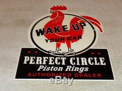 Vintage Perfect Circle Piston Rings Dealer Rooster 12 Metal Gasoline & Oil Sign
