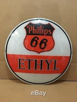Vintage Phillips 66 Ethyl Gas Pump Globe Lens Glass Top Sign Garage Decor Oil