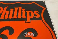 Vintage Phillips 66 Gasoline Porcelain Sign Gas Station Motor Oil Lubester