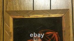 Vintage Pink Panther black velvet painting wood frame signed 23x14 umbrella rain