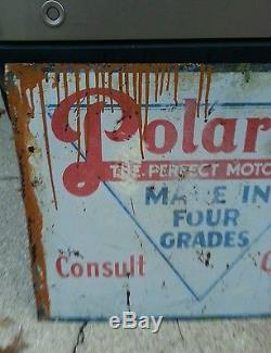 Vintage Polarine Perfect Motor Oil sign made in 4 grades metal not porcelain