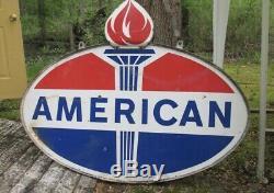 Vintage Porcelain AMERICAN Sign Gas Oil Gasoline FLAME Sign RARE