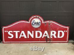 Vintage Porcelain ESSO STANDARD GASOLINE oil AUTO Sign SOCONY